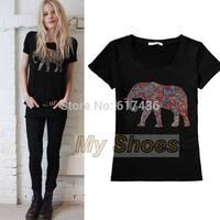 2014 High Quality European Summer Women Short Sleeve O-Neck Animal Print T-shirt Tops SV006429