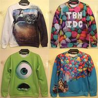 2014 New fall clothing cartoon sweatshirt Monsters university green Mike /ballon fly print 3D men hoodies