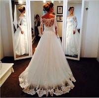 Shoulder to Shouler Straps Backless Full Lace Brazil Wedding Dress