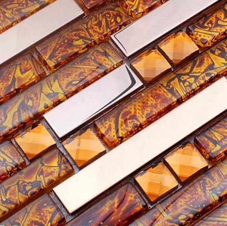 stainless steel mixed electroplating glass tiles & diamond for kitchen glass backsplash tile bathroom shower tile mosaic border(China (Mainland))