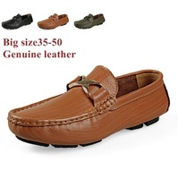 New arrival size35-50 Black+Brown+Light green slip on genuine leather men loafers women loafers driving shoes