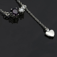 2014 New Fashion Design ,925 sterling silver high quality crystal pendant necklace,Wholeasale N521