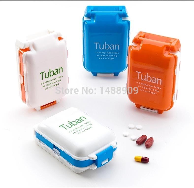 Free shipping environmental protection PP Folding Pill case Medicine box Drugs necessaire storage box pillbox Novelty(China (Mainland))