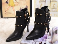 free shipping genuine leather lady boots with high heel women boots fashion boots thin heel rivets sexy boots  big size