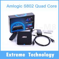 2pcs M8 Amlogic S802 Quad Core Android 4.4 Smart TV Box Dual Wifi 2G RAM 8G ROM Bluetooth 4.0 XBMC Media Player
