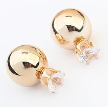 High Quality Wholesale ! New Fashion Paragraph Hot Selling 2014 Double Side Shining (16mm) Colorful Pearl Stud Earring For Women