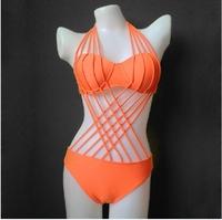 2014 Brand Sexy Lace-up One Piece Swimsuit Swimwear women monokini plus size swimwear women swim wear one piece bathing suit CCY