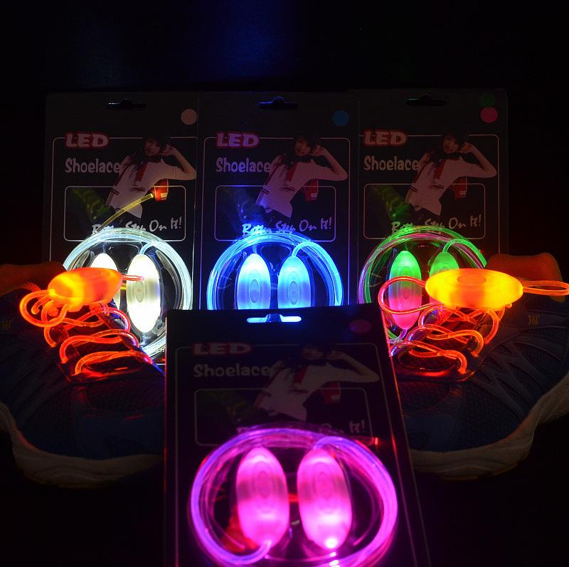 2pcs Lighting Flash Light Up LED Shoelaces Flash Party Disco Shoe Laces Shoe Strings Sports Skating LED Shoe Free shipping(China (Mainland))