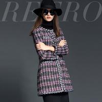 Colorful fashion 2014 fashion knitted jacquard small slim wool overcoat