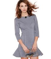 Free Shipping New Arrival Fashion slim hip ruffle lower hem fish tail dress Brief Grey dress three quarter sleeve dress vestido