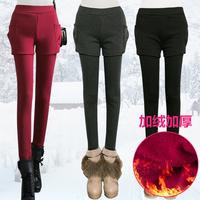 Women shorts faux two piece plus velvet legging autumn and winter legging skirt thickening trousers