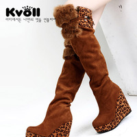 New Kvoll winter  leopard lace stitching thick crust slope with high-heeled knee boots  women boots SIZE(35-40)