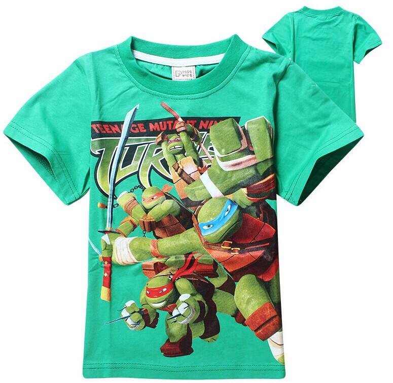 """Teenage Mutant Ninja Turtles"" Cartoon T-shirt Short Sleeve Boys Cotton T-shirt Casual Summer Clothes High Quality Free Shipping(China (Mainland))"