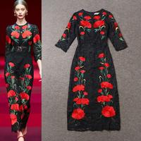 2015 Spring Runway Fashion Women 3/4 Sleeve Embroidered Flowers Elegant Lace Midi Dress Vintage Dresses SS4565