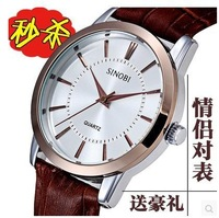 Brand Leather Strap Watches  lover's Dress Watch Gift Clock Designer  super-thickness free shipping Quartz watch