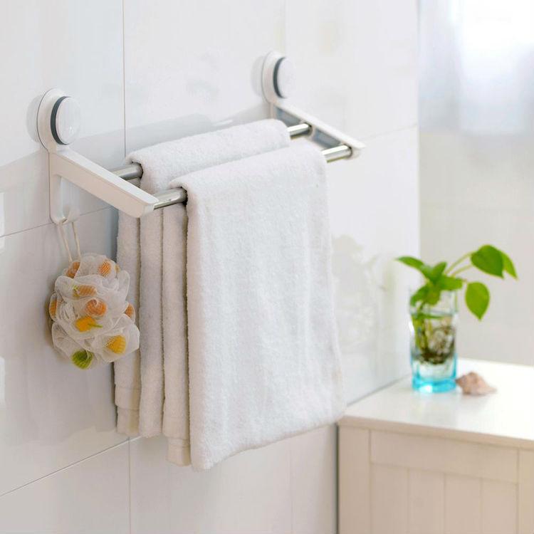 Estantes Para Baños Acero Inoxidable:de acero inoxidable de doble toalleros ventosa accesorio para