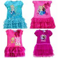 2014 baby girls summer dress girl summer rose-red sky blue one piece dress short sleeve casual cartoon dress princess