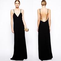 MAXI backless super long and fine condole black sleeveless dress