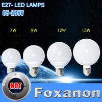 Foxanon Brand E27 Ultrabright Led Light 220V 110V 85-265V 5730 SMD Lamps Ball Bulb 7W 9W 12W 15W Chandelier Lighting 1Pcs/Lot