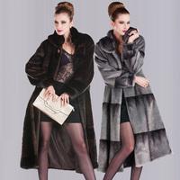Faux marten overcoat quinquagenarian women's long design mink plus size plus size outerwear