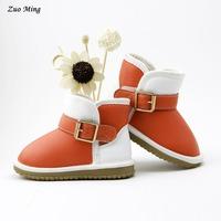 New 2015 autumn and winter children shoes fashion color block decoration child snow boots 3 Color Size(US): 4 - 6.5
