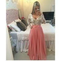 Sexy Club 2014 Clothing Elegant Chiffon Pearl Evening Party Long Floral Lace Dress Vestidos De Renda Longo Roupas Femininas