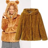 Cute Bear Plush Ears Hairy Hooded Faux Fur Jacket Long-Sleeve Cardigan Plush Ball  Pullovers Hoodies Down Parkas High Quality