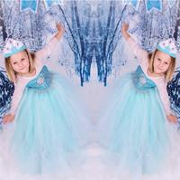 Girls dress 2015  Elsa Anna costume princess dress sequined cartoon costume Free shipping girls dresses.