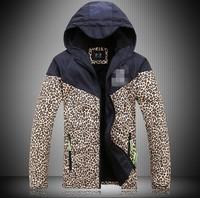 Autumn winter, the couple leopard hooded snowboarding jacket, men and ladies jackets, plus thick velvet coat large size