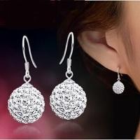 New Arrival Luxury S925 Sterling Silver Full Shinning Pure CZ Diamonds Shambhala , Women Dangle drop earrings Free Shipping