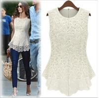 2015  New lace chiffon blouse lace women loose shirt ruffle chiffon cardigan fashion clothes women 19 color Plus size XS-5XL