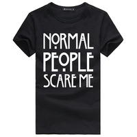 Free Shipping Nor American Horror Story Normal People Scare Me T Shirts Men Cotton Letter Printed Short Sleeve Mens Shirt Tees