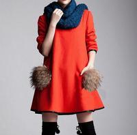 2014 Autumn New Costume Maternity Dresses Fashion Patchwork Raccoon Fur Woolen Pullover Sweatshirts Fat Women Pregnant Tops