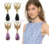 2015 Designer clear crystal swallow drop earrings black resin tear drop dangle earrings fashion costume earrings for women party