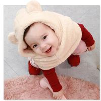 Winter Hat Unisex Cartoon Children Cap 6 Colors Baby Velvet Scarf Warm Clothing
