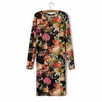 New Vintage Flowers Print Women Sheath Dress Cotton Stretchable Long Sleeve O Neck Lady Slim Dress YS93049