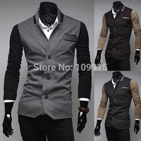 Korean Men's Slim Blazer Jackets Three Button Casual Suit Coat Outwear OvercoatFree&Drop Shipping