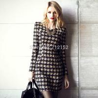 women autumn slim long-sleeve houndstooth plus size clothing one-piece basic mini dress female coffee plaid shrug dress coffee