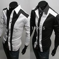 Men Stylish Sexy Formal Casual Slim Fit Dress Shirt Business Basic Tees TopsFree&Drop Shipping