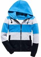 Men's Spell color Zipper Hooded Sweatshirts  jacket  Slim fit  Fashion  Leisure coat  Free-shipping New 2014 warm  winter