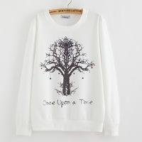 winter Hoody women Casual hoodies Strawberry tree print fleece inside long sleeve o neck letters sweatshirt for women -L070
