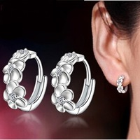 New ,Top Quality ,S925 Sterling Silver,  0.3 Carat Pure Clear CZ Diamond Camellia flowers Women Stud Earrings ,Free Shipping