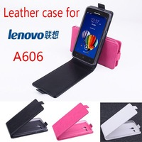 Free shipping For Lenovo A606 Slim Magnetic Closure Up and Down Flip PU Leather Case