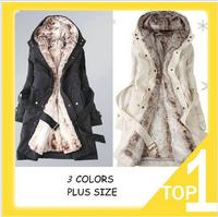free shipping Hot Sale Faux fur lining women's winter warm long fur coat jacket clothes wholesale 2014 Winter wadded jacket