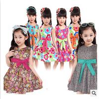 New 2014 Promotion Frozen Elsa Anna Dress Girl Princess Summer Print Costume