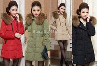 New fashion 2014 winter women thicken down coat warm long fur coat slim solid down  padded women parka coat women down jacket