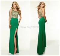Luxurious Beading Crystal Sleeveless Sexy Split Green Chiffon Custom Made Party Dresses Vestido De Festa Long Evening Dresses