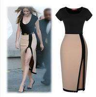 2014 Summer  Women Contrast Color Short Sleeve Split Pencil Dress Vestidos  S, M, L, XL, XXL
