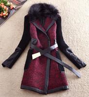 Free shipping, M-XXL,women's autumn winter woolen trench fox fur collar overcoat long belt line,large size