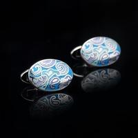 cufflinks with blue Spray . free shipment